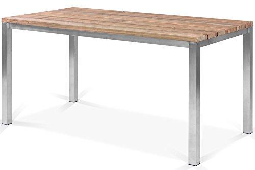 OUTFLEXX Esstisch Gartentisch in Natur rustikal gebürstet, Metalltisch aus Edelstahl und recyceltem Teak-Holz, Tisch für Moderne Gärten
