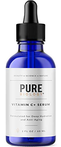 Pure Biology Premium Vitamin C Serum (30%) with Hyaluronic Acid, Vitamin E & Anti Aging Complex to Smooth Wrinkles & Brighten Skin Tone for Men & Women (2 oz)