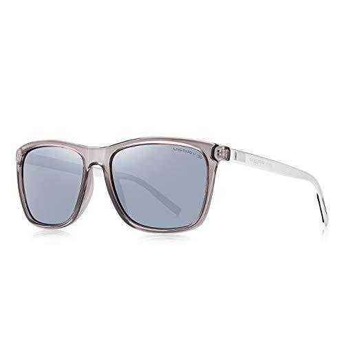 MERRY'S Unisex Polarized Aluminum Sunglasses Vintage Sun Glasses For Men/Women S8286 (Silver, 56)