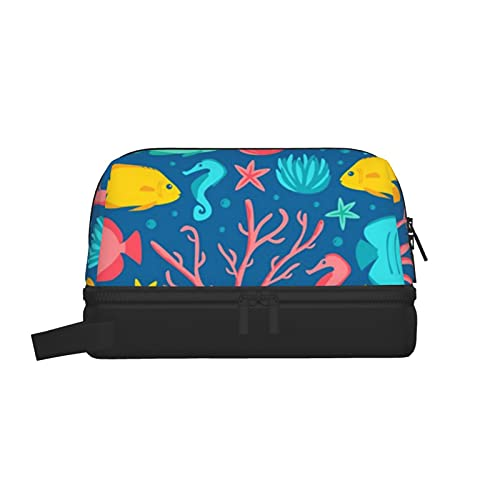 Bolsa de lavado multifuncional, bolsa de maquillaje, organizador de cosméticos, bolsa de aseo colgante para hombres y mujeres (joyería de coral de la tripulación)