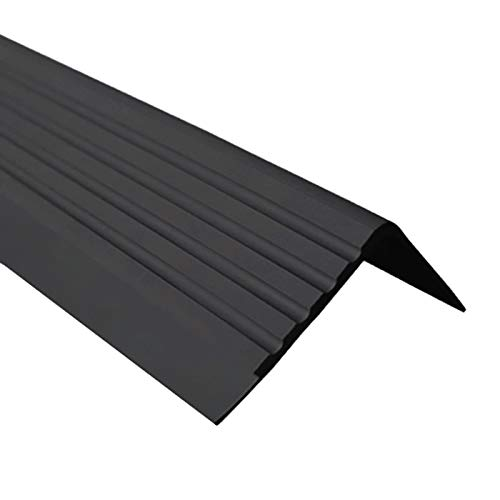Anti-Rutsch Treppenkantenprofil für Treppenstufen Winkelprofil PVC Gummi RD, 40x40mm, 1.5 Meter (schwarz)