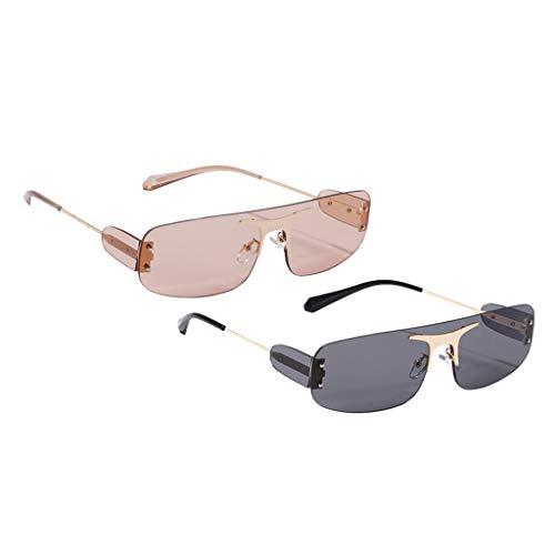Colcolo 2pcs Vintage para Mujer Gafas de Sol Sin Montura Diseñador Retro Lente Tintada Gafas UV 400