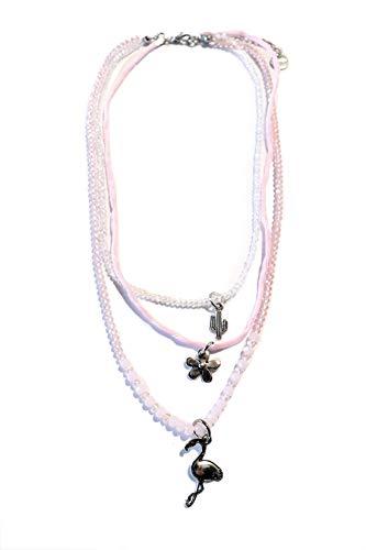 GRACE Damen Kette Halskette Doppelkette Choker Pale Rose aus Seide Perlen und Anhänger - rosa, weiß, Silber