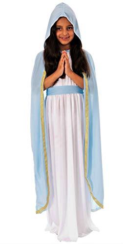 Disfraz de María Santa para niña, juego de Belén, tallas de 110 a 140, disfraz de Navidad infantil (134/140)