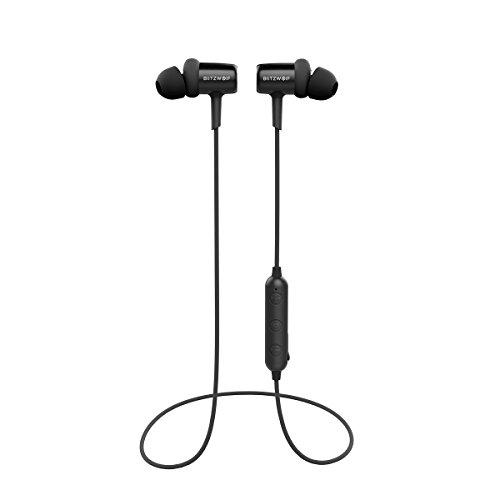 Bluetooth Kopfhörer, BlitzWolf V4.1 In Ear Sport Ohrhörer Kopfhörer magnetische Headset IPX4 8 Stunden Spielzeit mit Mikrofon für iPhone, Sumsung und andere Android Smartphones(Schwarz)