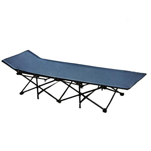 UCYG Cómoda Cama Plegable Camping Individual, Cama Plegable Niños 1 Plazas Armadura de Metal, Carga Máx 150 kg, 190x68x36cm (Color : Dark Blue)