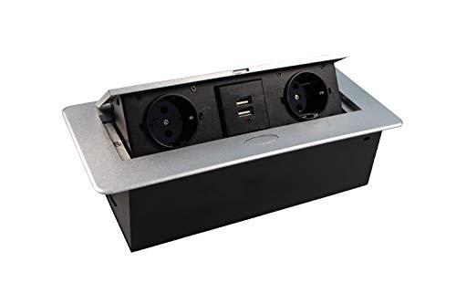 Gedotec Einbausteckdose Küche & Schreibtisch - Kombibox DL10007 | Doppel-Steckdose 2 x Schuco-Stecker + 2-fach USB | Tischsteckdose silber | Unterbau-Steckdose mit Soft-Closing Klappdeckel | 1 Stück