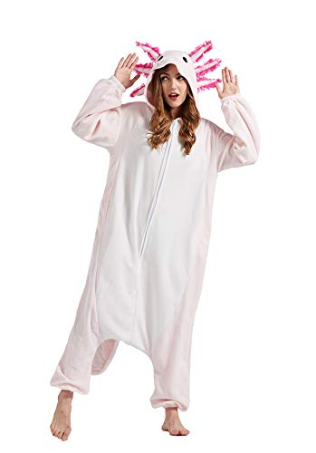 Pijama Animal Entero Unisex para Adultos con Capucha Cosplay Pyjamas Ropa de Dormir Traje de Disfraz para Festival de Carnaval Halloween Navidad Salamandra L(168-177CM)