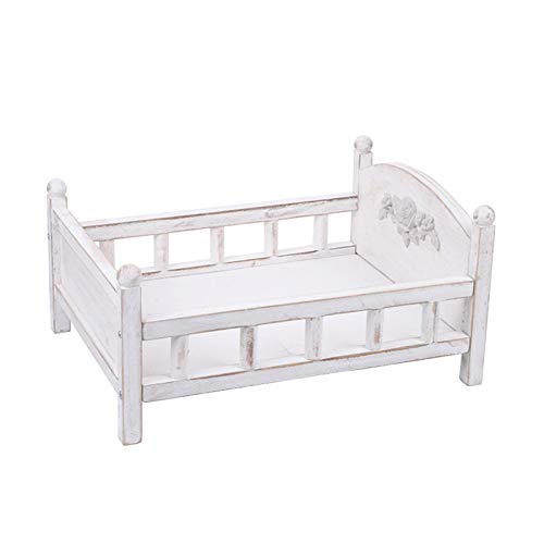 ETIGER Photo Props, Wood Bed Newborn Accessories Seat Shoot Photography Posing Prop Kids Children Baby Childhood Pose Backdrops Gift Detachable for Studio Photoshoot Booth Home(White)