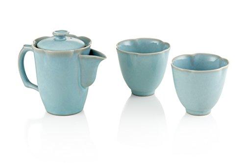 Tea Soul B6021247 Service Théière et 2 Tasses Porcelaine Bleu
