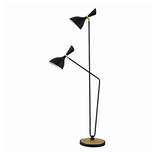TATANE Double Head LED staande lamp, met lampenkap, voor slaapkamer en woonkamer, moderne staande industriële lamp, hoge paal, inbouw voor kantoor, klassiek zwart