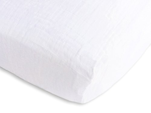 SwaddleDesigns Cotton Muslin Fitted Crib Sheet/Toddler Sheet, Pure White