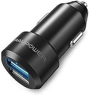 RAVPower Cargador de Coche 24W 4.8A Dual USB Adaptador Automóvil con Tecnología iSmart, Funda de Material de Aluminio, Compatible con iPad, Samsung Galaxy, LG Nexus y Más – Negro