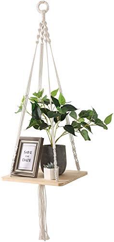 YCOCO Makramee-Pflanzenaufhänger, Übertopf, Hängeregal für den Innenbereich, Bohemian-Stil, handgefertigt, aus Holz