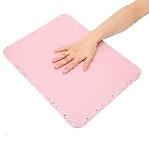 Alfombra de mesa de arte de uñas, almohada de mano plegable para uñas, alfombrilla de escritorio para manicura, cojín para reposabrazos de cuero de PU suave, para salón de uñas(Rosado)