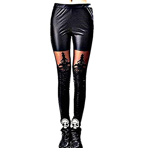 Inception Pro Infinite Leggings Mujer - Cuero de imitaci├│n - Decorado - Encaje - Cordones - Negro - Oscuro - G├│tico - Talla ├║nica - Idea de Regalo -