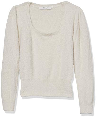ASTR the label Women's Long Sleeve Square Neck Fuzzy Sweater, Ivory, Medium