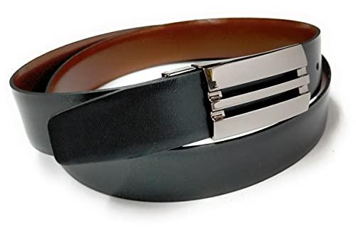 Yojan Piel Cinturon De Piel Reversible Negro y Marron (95) | Cinturon elegante para vestir en Bodas...
