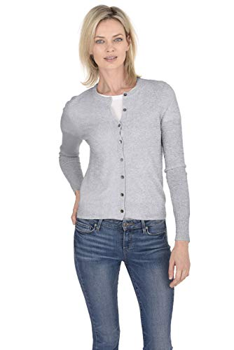 Cashmeren Crewneck Cardigan Sweater 100% Cashmere Button Front Long Sleeve Pullover for Women (Heather Grey, X-Small)