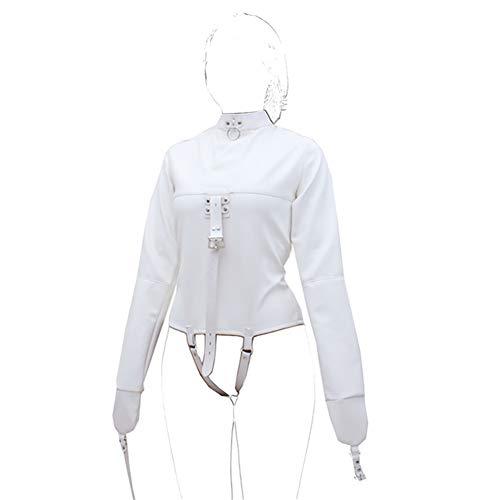 Demarkt Echte Zwangsjacke Asylum Patient Straight Jacket Zwangs jacke Weiß SM BDSM