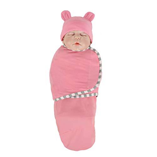 Schlafsack Für Baby, Neugeborene Jungen Mädchen 2 Stücke Set Wickeln Swaddle Decke + Hut, Kleinkind Schlaf Swaddle Wrap Warme Kinderwagen Wrap Schlaf Pyjama