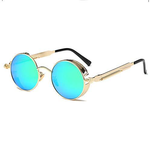TYXL Sunglasses Polarizado Redondo Retro Negro/Plata/Oro Gafas De Sol Gafas De Conducción Hombres Y Mujeres Corriendo Pesca Viento Punk De Vapor (Color : Gold)