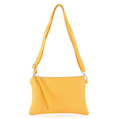 modamoda de - T186 – Bolso de mano de piel tipo bandolera, tamaño mediano, color Amarillo, talla Small