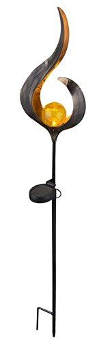 LED Solarlampe mit Erdspieß Gartendekoration mit Beleuchtung Kunstobjekt aus Bronze (Gartenlampe, Solarleuchte, Gartenleuchte, Außenlampe, Beet-Leuchte)