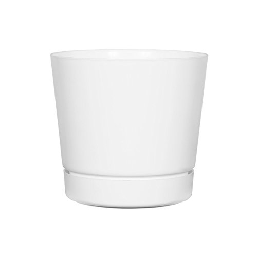 Full Depth Round Cylinder Pot, White, 8-Inch