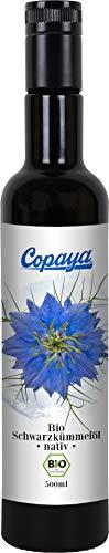 Copaya Bio Schwarzkümmelöl 500ml direkt vom Hersteller im UV geschützten Violettglas für den Erhalt aller Nährstoffe, Kaltgepresst aus der ägyptischen Nigella Sativa Saat, Deutsche Produktion, 500ml