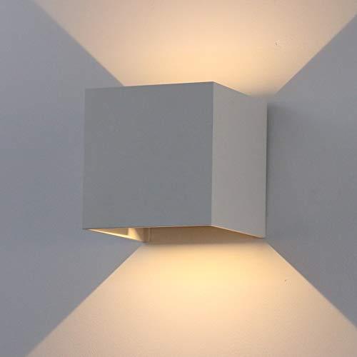 K-Bright 12W Wandleuchte IP65 Wandlampe,Einstellbarer Lichtstrahl Wandbeleuchtung aus Aluminium,Grau,Warmweiß,1 Stück