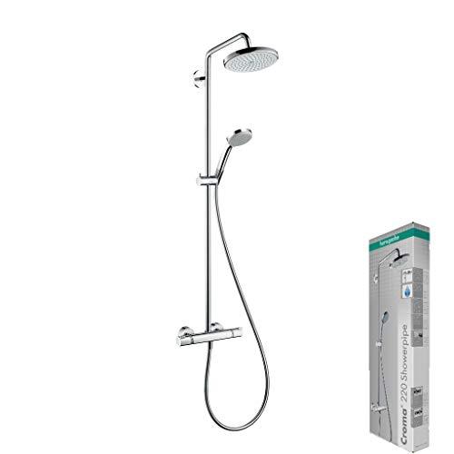hansgrohe Duschsystem Croma 220 (Regendusche mit 4 Strahlarten, Duschkopf, Duschstange und Thermostat) chrom