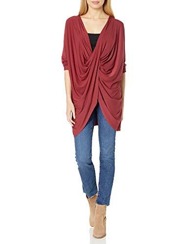 Splendid Women's Studio Active Jersey Drape Tunic Long Sleeve Top, Pomegranate, Large