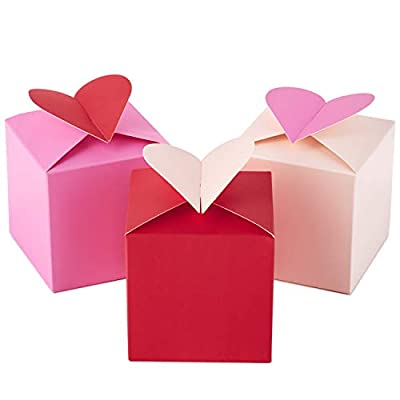 "Hallmark Paper Wonder 3"" Small Valentines Gift Boxes (Pack of 3; Hearts in Pink, Purple and Red) for Kids, Treats, Galentines Day"