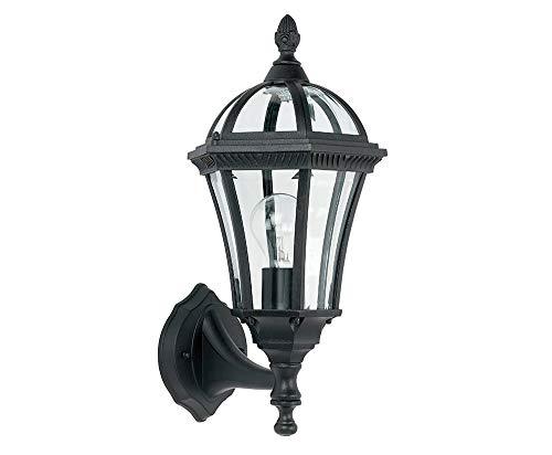 Traditionele matzwarte buitenlantaarn-wandlampfitting met vellingglas