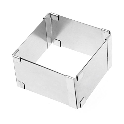 Abcidubxc Quadratischer Edelstahl-Tortenring, Mousse-Ring, DIY-Backwerkzeuge, Einstellbare Größe, Langlebig