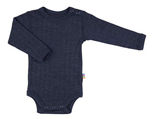Joha Baby Body Langarm aus Merino-Wolle/Seide, Größe:56/62, Farbe:Navy