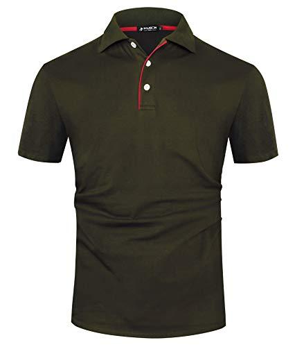 Kuson Herren Poloshirt Kurzarm Patchwork Sommer T-Shirt Men's Polo Shirt Baumwolle Grün XXL
