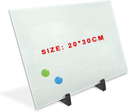 Magnetic Glass Whiteboard Dry Erase Board, Whiteboards Magnetic Glass Board for Interactive Office Wall Frameless White Glassboard with Marker Tray (20x30cm)
