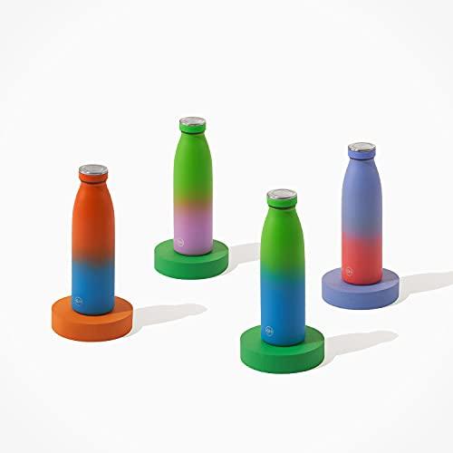 GH Botella de Agua acero Inoxidable 500ml Lima Lila | Frasco de Agua de Metal Reutilizable | Botella Termica Doble pared al vacío | Botella de bebida reutilizable Sin BPA, Antigoteo y Prueba d