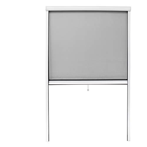 ECD Germany Mosquitera Cortina Enrollable Blanco Resistente a la Intemperie 100x160 cm Tela de Fibra de Vidrio Marco de Aluminio Sin Perforación Malla Protectora Hogar contra Insectos y Mosquitos