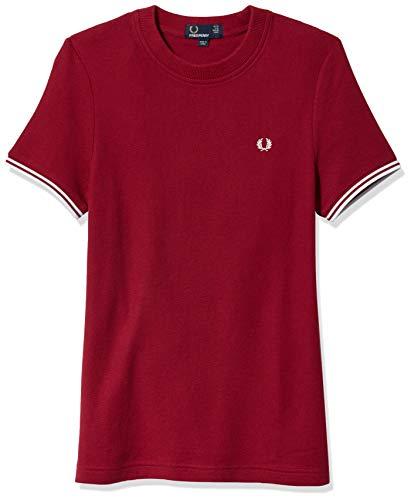 Fred Perry Damen Twin Tipped T-Shirt, Claret, 44