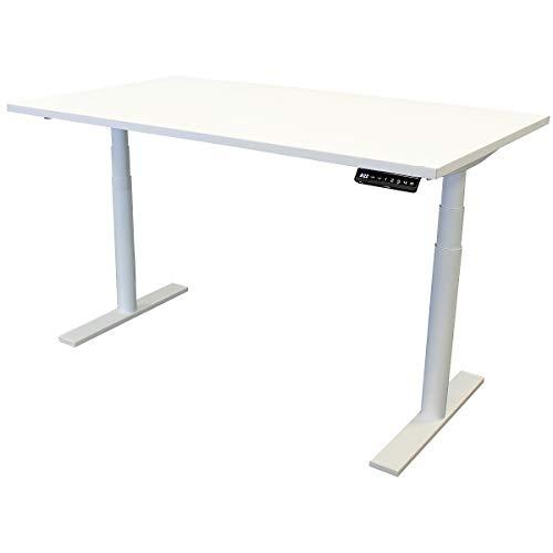newpo elektrisch höhenverstellbarer Schreibtisch mit Tischplatte | BxT 140 x 80 cm | weiß | Stehtisch Bürotisch Tisch-Gestell