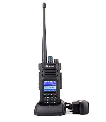Ailunce HD1 Doble Banda DMR Radio, GPS Walkie Talkie Digital, 3000 Canales, IP67 Impermeable, 16 Llaves DTMF, Compatible con Radio Amateur (1Pieza, Negro)