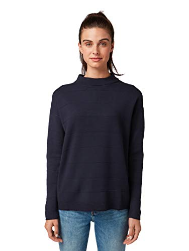 TOM TAILOR Damen Pullover & Strickjacken Pullover mit Strickmuster Sky Captain Blue,S