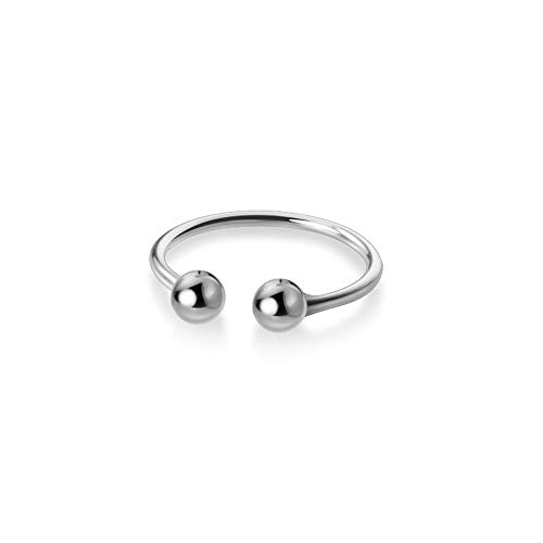Dainty Tiny Balls Knuckle Rings for Women Teen Girls S925 Sterling Silver Statement Adjustable Open Rings Elegant Minimalist White Gold Plated Polished Tail Finger Rings Hypoallergenic Jewelry Gifts