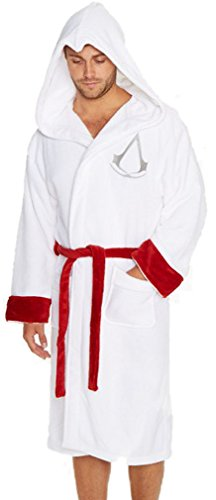 Offizieller Herren-Bademantel Assassins Creed aus Fleece mit gesticktem Logo, Einheitsgröße, Weiß oder Schwarz Gr. Einheitsgröße, weiß