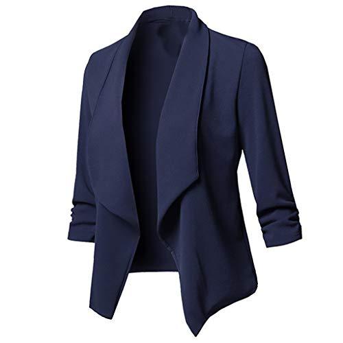 Xmiral Anzug Strickjacken Damen Einfarbig Umlegekragen Langarm Blazer Büro Jacken Mantel Große Größe V-Ausschnitt Tunika für Hochzeit Arbeit Geschäft (Marineblau,5XL)