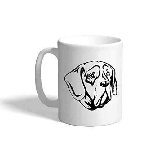 N\A Taza de café de cerámica de 11 onzas Pachon Navarro Head Taza de té Blanco y Negro Solo diseño para Perros