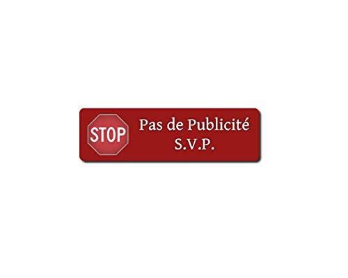 Lot de 12 Autocollants Stop Pub Rouge, Design Elegant, Résistant à la Pluie et aux UV, Haute Qualité d'Impression, 8,5x2,5cm, Compatible tous Types de Boîtes aux Lettres